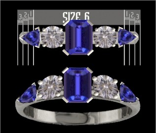 Custom designed sapphire and diamond ring