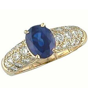 pave diamond and sapphire ring